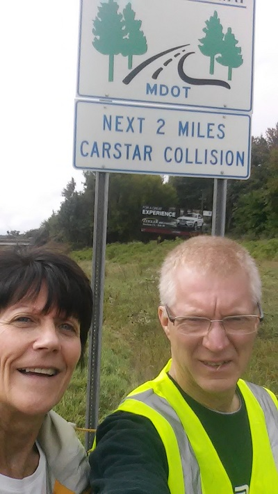 The CARSTAR Adopt-a-Highway sign portion of US 131
