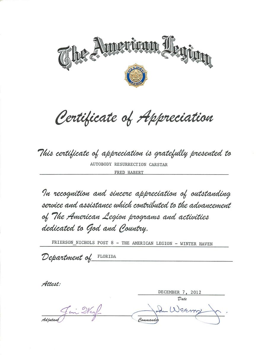 Certificate of Appreciation from American Legion