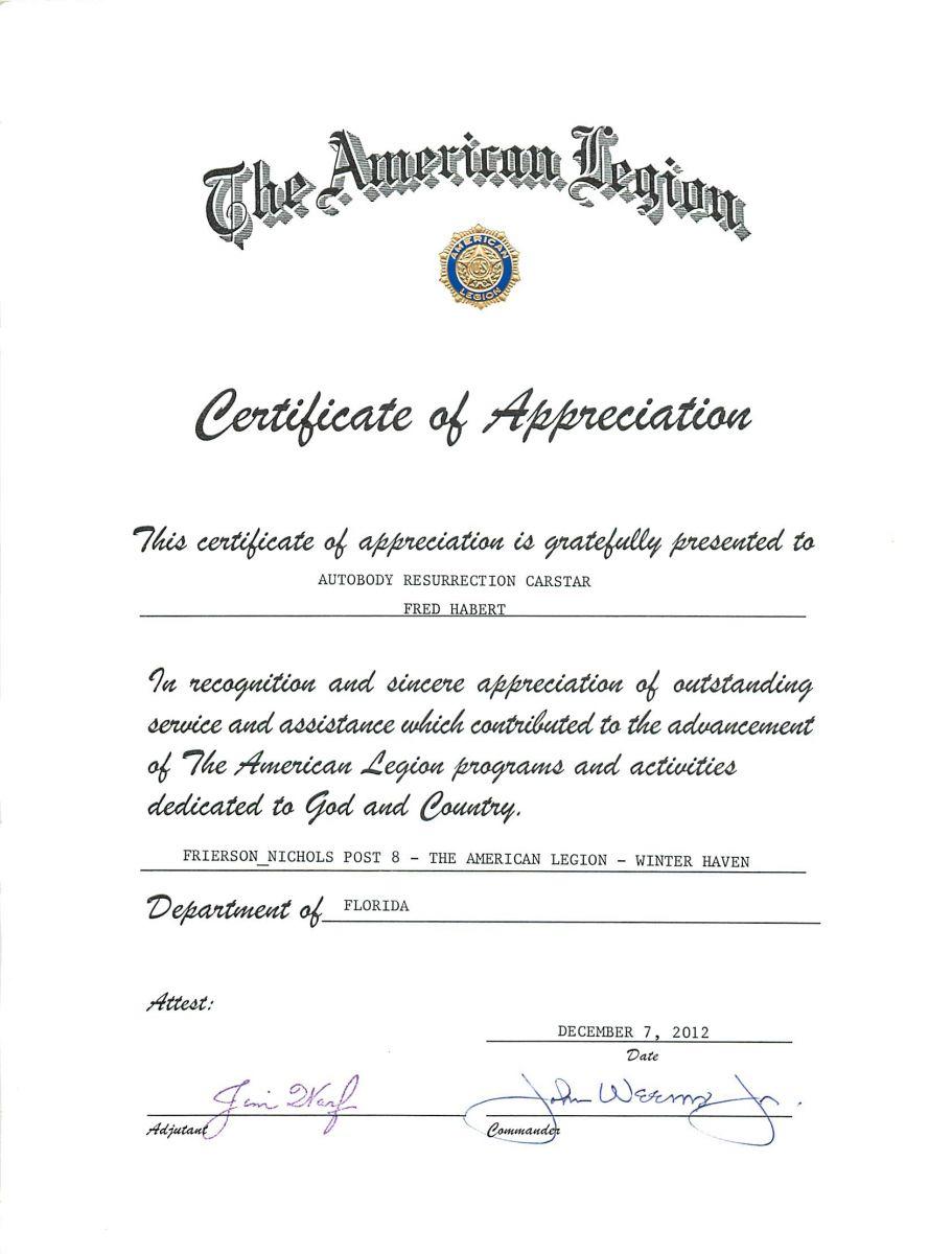 Carstar | Certificate of Appreciation from American Legion