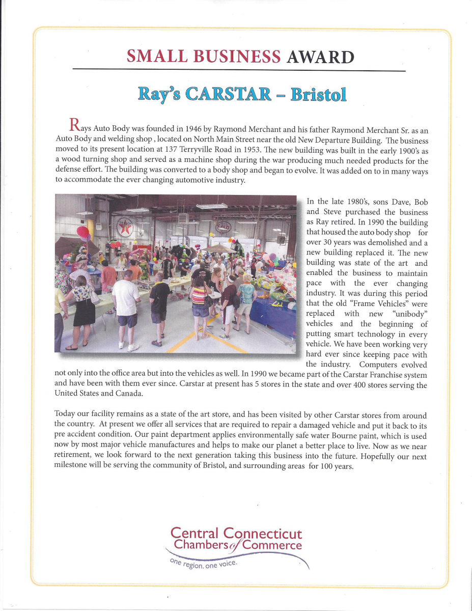 Carstar | Ray's CARSTAR: Small business award