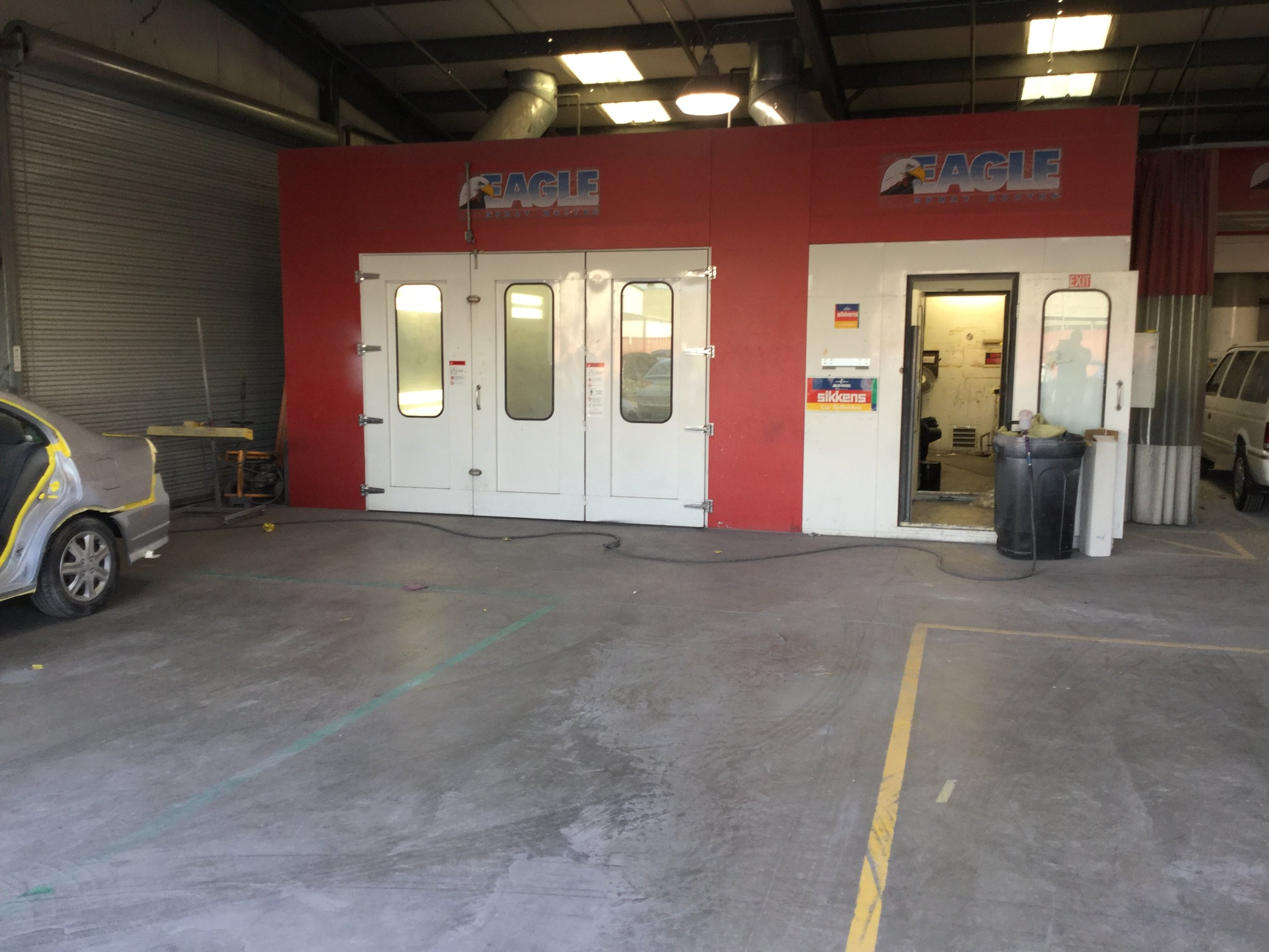 paint booth and mixing room